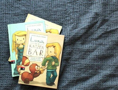 Drei Bände von Luna und der Katzenbär liegen aufeinander