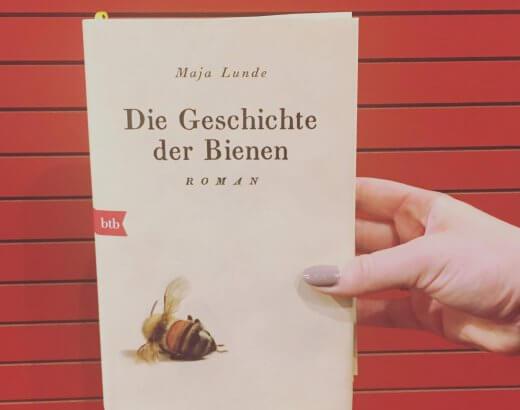 Mary Lunde Die Geschichte der Bienen vor einem roten Hintergrund