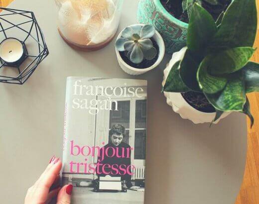 Francoise Sagan Bonjour Tristesse in der Neuübersetzung von Rainer Moritz auf Couchtisch mit Pflanzen
